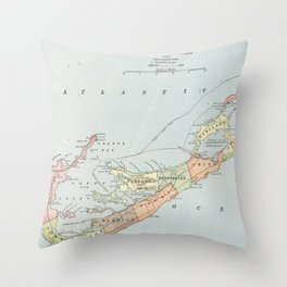 Vintage Map of Bermuda (1901) Throw Pillow