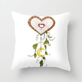 Catching My Heart Dream Catcher Throw Pillow