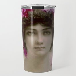 Beautiful,young lady,Belle epoque,victorian era, vintage, angelic girl, beautiful,floral,gentle,peac Travel Mug