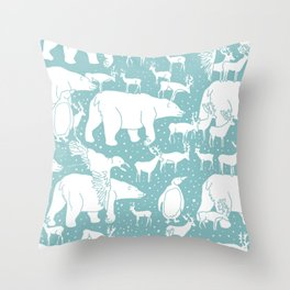 Polar gathering (peppermint) Throw Pillow