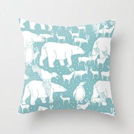 Polar gathering (peppermint) Throw Pillow
