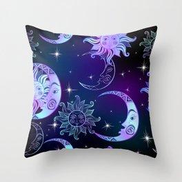 Sun, Moon & Stars, Purple Sky Throw Pillow