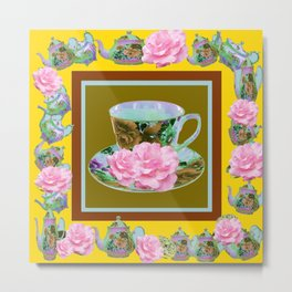 YELLOW ANTIQUE BLUE PORCELAIN TEA SET & PINK ROSES Metal Print
