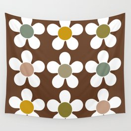 Spring Daisies on Soil Brown Wall Tapestry