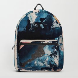Sweetly: a bohemian, abstract work on paper in blue, pink, white, and gold Backpack