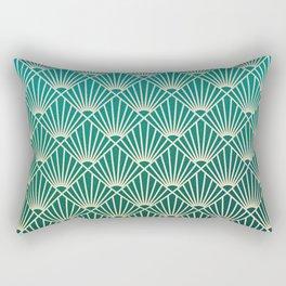 Teal golden Art Deco pattern Rectangular Pillow