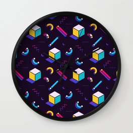 Festive Background in Neo Memphis Style Colorful Space Decorative pattern Wall Clock