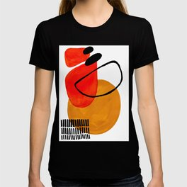 Mid Century Modern Abstract Vintage Pop Art Space Age Pattern Orange Yellow Black Orbit Accent T-Shirt