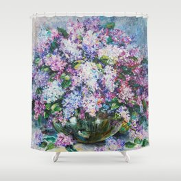 lilacs in a vase Shower Curtain