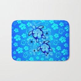 Blue Tropical Flowers And Honu Turtles Bath Mat