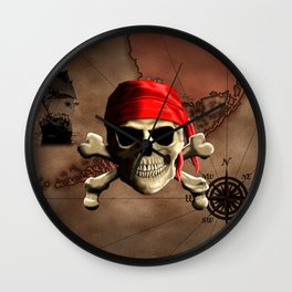 The Jolly Roger Pirate Map Wall Clock