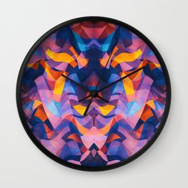 Abstract Surreal Chaos theory in Modern Blue / Orange Wall Clock