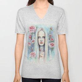 """Blossom"" Watercolour Surreal Fantasy Nymph Unisex V-Neck"