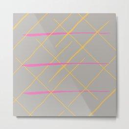 Modern pink yellow watercolor stripes pattern Metal Print