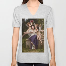 "William-Adolphe Bouguereau ""A Dream of Spring"" Unisex V-Neck"