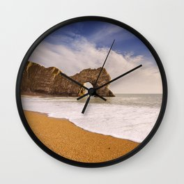 Durdle Door arch in Southern England on a sunny day Wall Clock