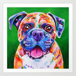 Boxer Dog Bright Painting Art Print