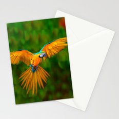 Flying Golden Blue Macaw Parrot Green  Art Stationery Cards