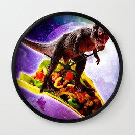 Tyrannosaurus Rex Dinosaur Riding Taco In Space Wall Clock