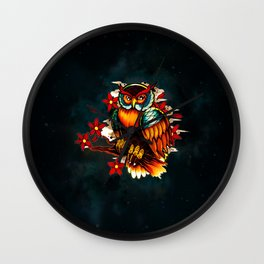 FLOWERS AND OWL Wall Clock