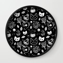 Herb Witch // Black & White Wall Clock