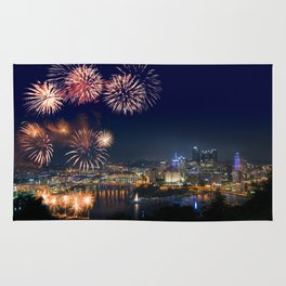 Fireworks over Pittsburgh on 4th July Rug