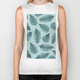 Blue fern garden botanical leaf illustration pattern Biker Tank