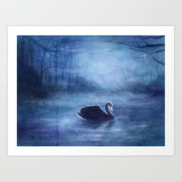 As The Swan In The Evening Art Print