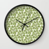 kiwi Wall Clocks featuring Kiwi by Sierra Neale