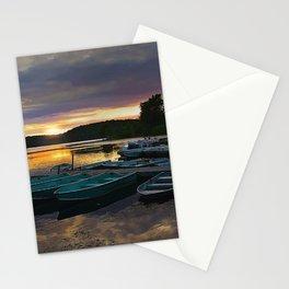Stunning Lake Front Marina Sunset Stationery Cards