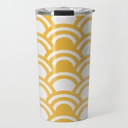 Yellow & White Half Circle Pattern Travel Mug