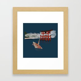 Floating by the Torii Gate Framed Art Print