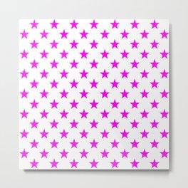 Stars (Magenta & White Pattern) Metal Print