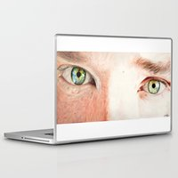 benedict cumberbatch Laptop & iPad Skins featuring Benedict Cumberbatch eyes by Cécile Pellerin