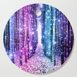 Magical Forest : Aqua Periwinkle Purple Pink Ombre Sparkle Cutting Board