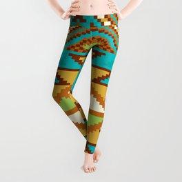 Native Aztec Tribal Turquoise Rug Pattern Leggings