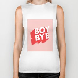 Boy Bye funny poster typography graphic design in red and pink home decor Biker Tank