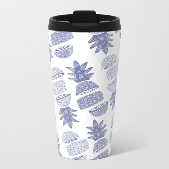 Pineapples (Light/Sliced) Metal Travel Mug