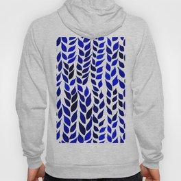 Simple Watercolor Leaves - Navy & Royal Blue Hoody