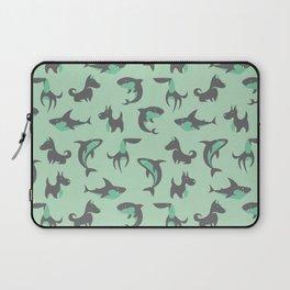 Sharks and Barks - Teal & Grey Laptop Sleeve