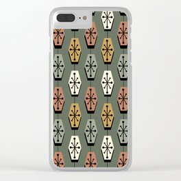 Mid Century Modern Hexagons Avocado Green Clear iPhone Case