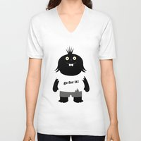 muppet V-neck T-shirts featuring Go for it! motivational muppet by simon oxley idokungfoo.com