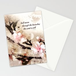 half moon through the branches Stationery Cards