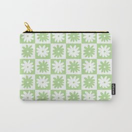 Green And White Checkered Flower Pattern Carry-All Pouch