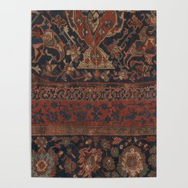 Boho Chic Dark III // 17th Century Colorful Medallion Red Blue Green Brown Ornate Accent Rug Pattern Poster