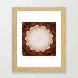 Cafe con Leche Coffee Mandala Abstract Framed Art Print