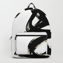 Brushstroke 3 - a simple black and white ink design Backpack