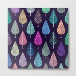 Watercolor Forest Pattern IV Metal Print
