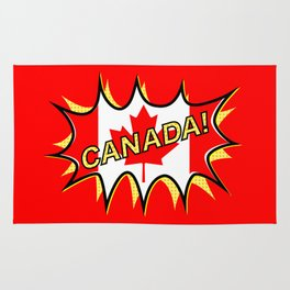 Canadian Flag Comic Style Starburst Rug