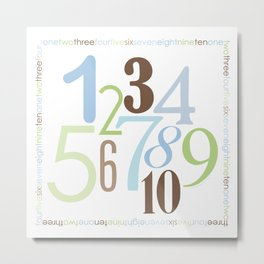 Numbers Square - Brody Colorway Metal Print